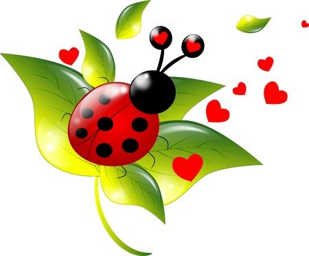 Cute ladybugs with heart on leaf