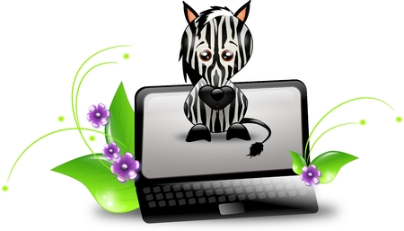 waiting convict: Black notebook with zebra on the screen Stock Photo