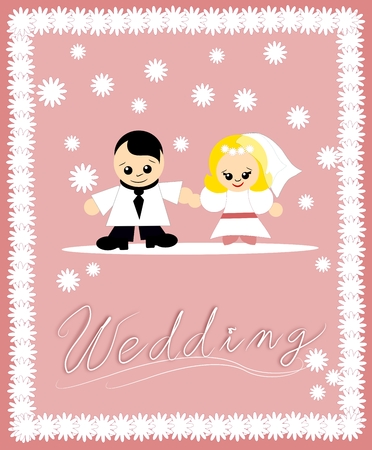 parter: Bride and groom on pink background decorated with text Wedding Stock Photo
