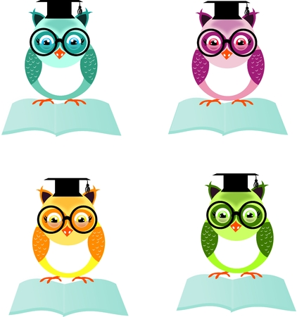 coif: Set of four different colored owls sitting on open book