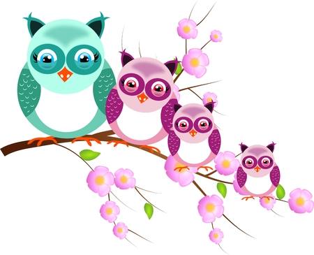 One big and three small owls sitting on twig of tree photo