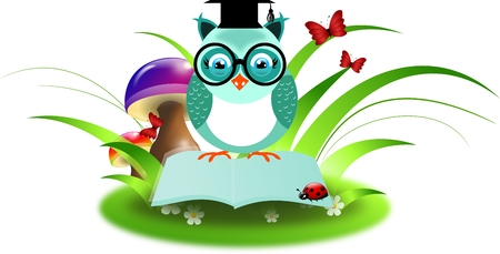 Clever owl sitting on open book decorated with grass photo
