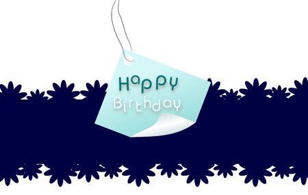 Happy Birthday label on blue white background photo