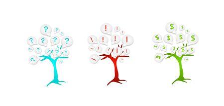 Set of three tree set of different icons photo