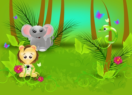 Green jungle background with wild animals photo