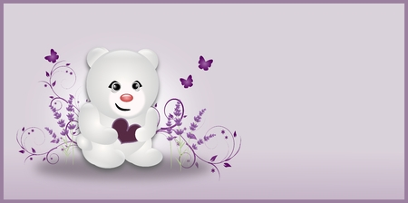 White polar bear holding heart and decorated with lavender photo