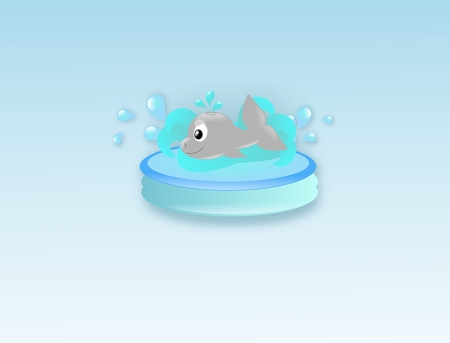 Cute whale in small water pool with light blue background