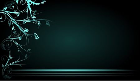 blue floral: Dark background with light blue floral ornaments