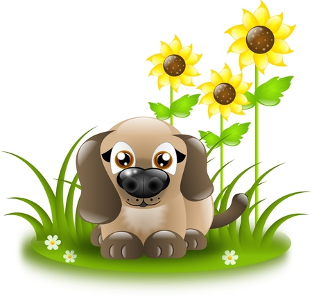 lying in: Cute cartoon dog lying in sunflowers