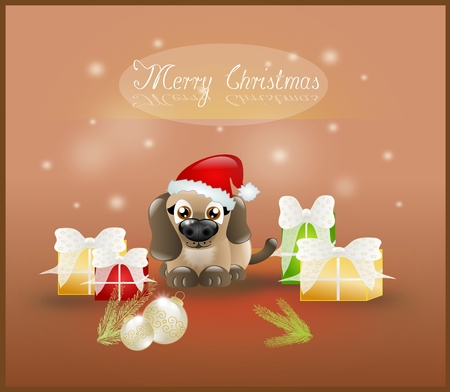 Small puppy with christmas decoration on background photo