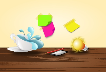 Working ideas background with cup, mobile phone, bulb and papers photo