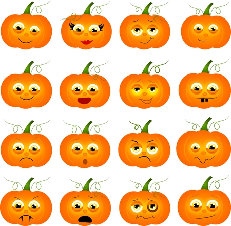 lowering: Set of orange pupmpkins with different moods