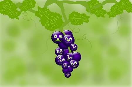 tuft: Tuft og grapes with faces on green background