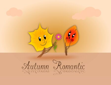 declare: Two leaves in love on romantic background