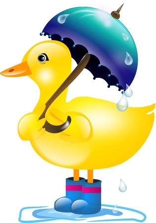 Yellow Duckling With Blue Umbrella In Rain Stock Photo Picture And Royalty Free Image 31424728