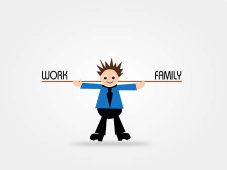 balanced: Cartoon businessman with balanced work and family