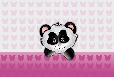 Panda head illustration on light pink butterflies background