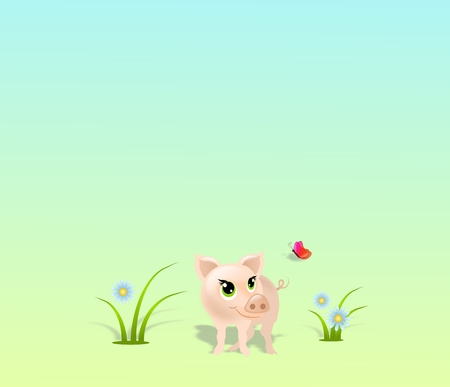 buttefly: Cute small pig with grass, flowers and buttefly on light background
