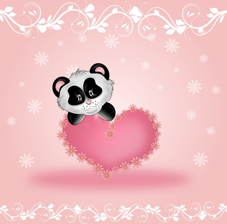 Cute panda bear with pink heart on pink background with white ornaments photo