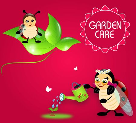 Cute cartoon ladybugs with watering can on pink background photo