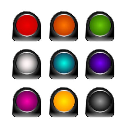metalic: Set of different colored metalic buttons Stock Photo