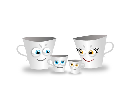 hapiness: White porcelain cups as family group Stock Photo