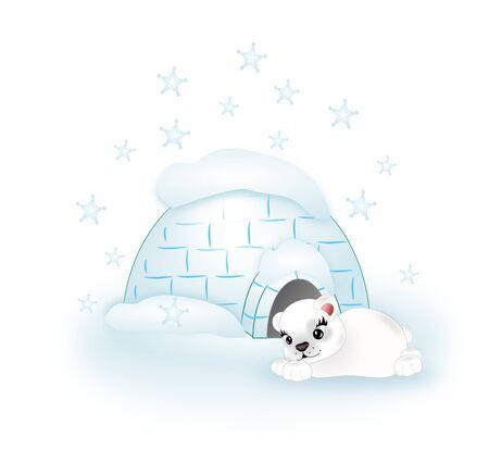 Illustration of polar bear with igloo illustration