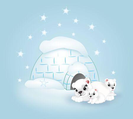 Illustration of family of polar bears behind igloo illustration