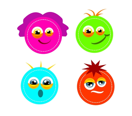 Set of four circle monster with different faces photo