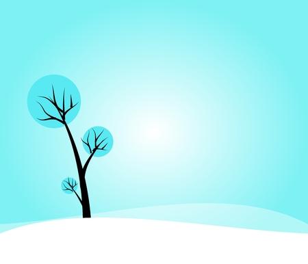 winter tree: Winter background with cartoon tree Stock Photo
