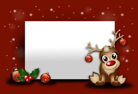 Red christmas background with blank table and cute reindeer