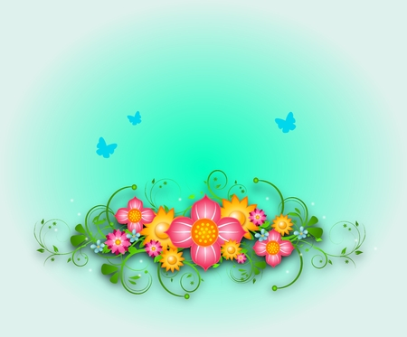 Light blue background decorated with flowers photo