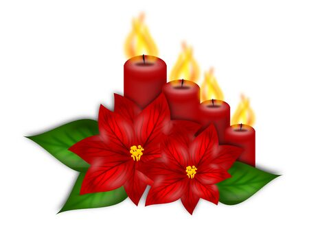 advent candles: Illustration of poinsettia flowers with four advent candles