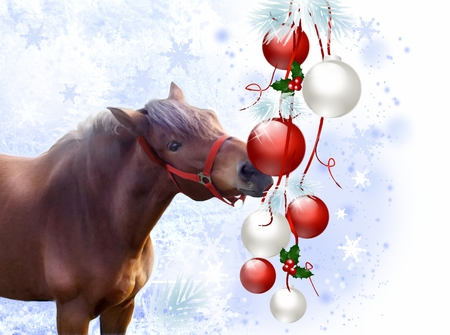 Illustration of brown horse playing with christmas bulbs