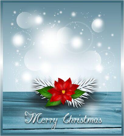poinsettia: Blue christmas background with poinsettia