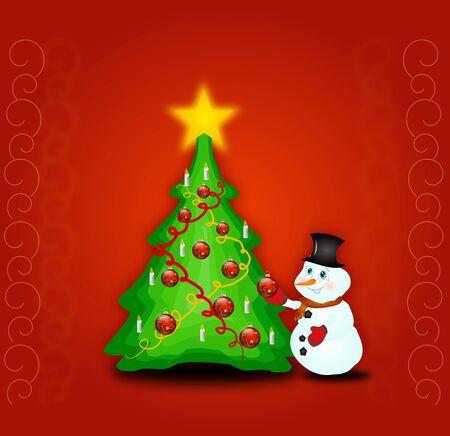 decorated christmas tree: Illustration of snowman decorated christmas tree
