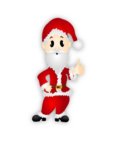 thumps up: Illustration of Santa with thumps up