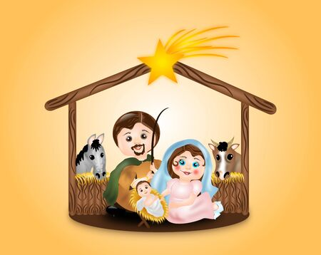 creche: Cute illustration of Virgin Mary, St. Joseph and baby Jesus in creche