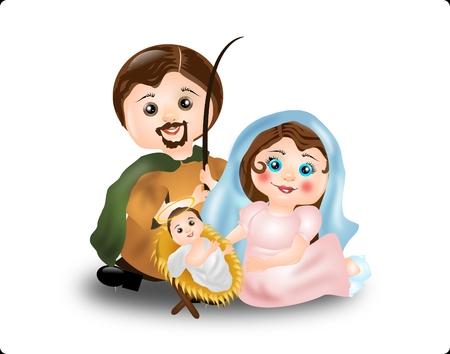 creche: Cute illustration of Virgin Mary, St. Joseph and baby Jesus