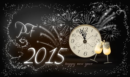 pf: Background with PF 2015 and firework