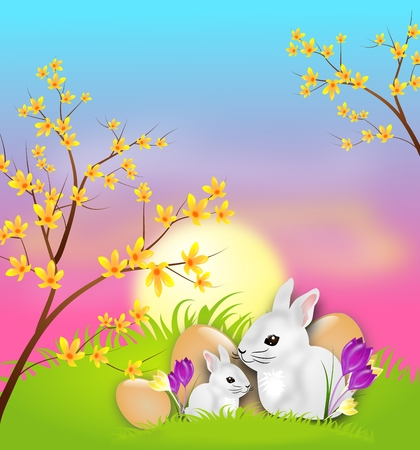 Illustration of easter card with white rabbits illustration