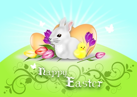 Illustration with easter rabbit, chicken and eggs decorated with text Happy Easter illustration