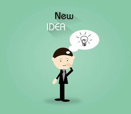 personas pensando: Ilustraci�n de negocios en fondo verde con el texto Nueva Idea