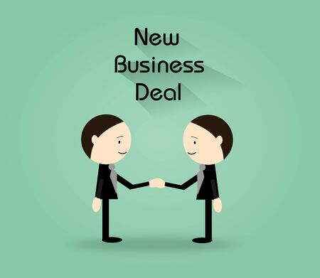 business deal: Illustration of two businessmen shaking hands on green background with text New Business Deal