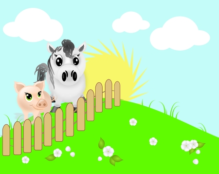 Illustation of white pony and pig behind fence on green hill photo