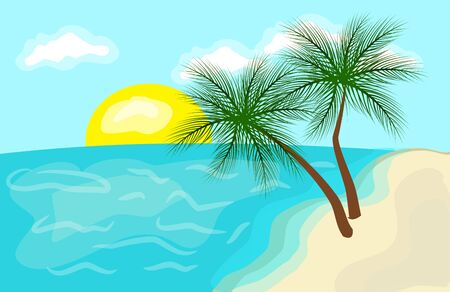lanscape: Summer beach lanscape with sea and two palms
