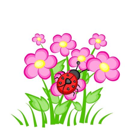 Cartoon ladybug with seven black heart on back sitting on pink cartoon ladybug with seven black heart on back sitting on pink flowers stock photo 35319860 mightylinksfo
