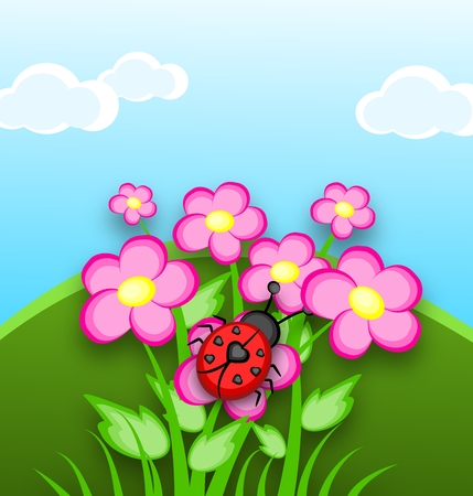 Cartoon ladybug with seven black heart on back sittion on pink flowers with landscape photo