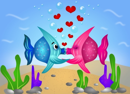 Illustration of two kissing fish under water illustration