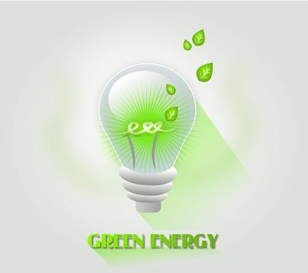 Illustration of light bulb with green light and some leaves